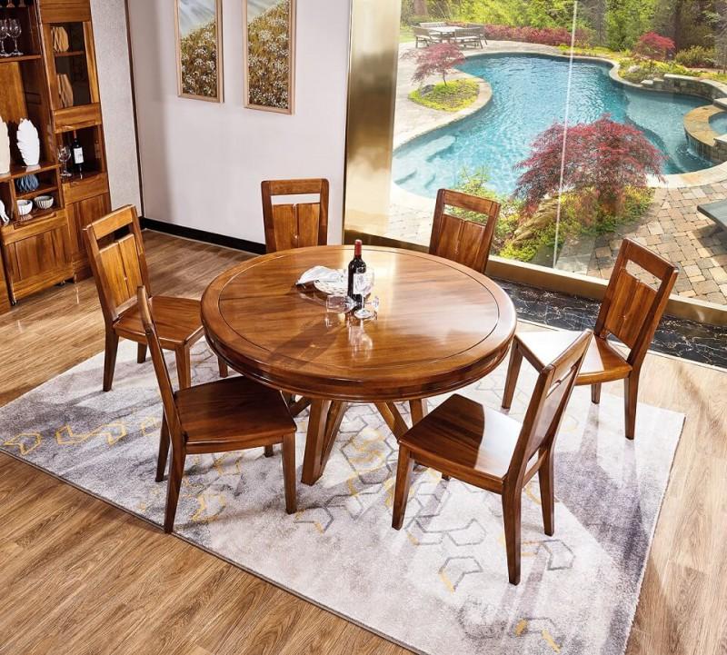谁最美新德式金丝檀木圆餐桌8503#