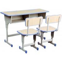双人单柱靠背课桌椅ZY107