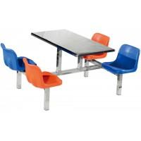 四位不锈钢塑胶靠背餐桌ZY39