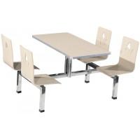 四位不锈钢曲木靠背餐桌ZY38