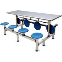 八位不锈钢圆凳翻转餐桌ZY30