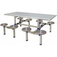 八位不锈钢圆凳分体餐桌ZY29