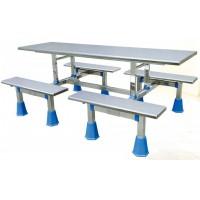 八位不锈钢条凳连体餐桌ZY27