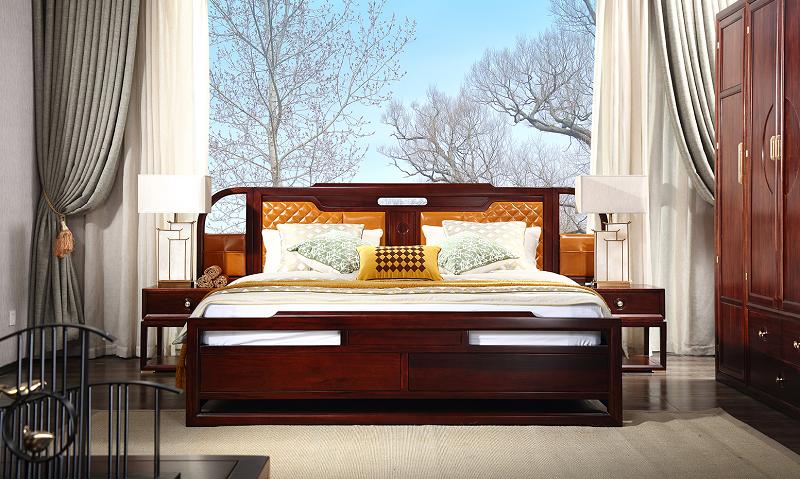 新中式卧室床01