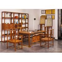 诗意东方新中式红木:巧夺天工书架、茶台