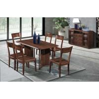 华轩家私乌金木长形桌175#、餐椅176#