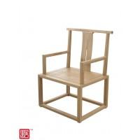 禺舍禅意新中式民宿家具:312原木色白蜡木官帽椅