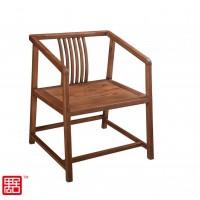 禺舍禅意新中式民宿家具:311胡桃色白蜡木茶椅