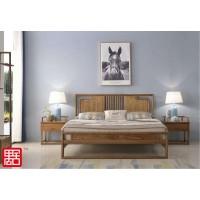 禺舍禅意新中式民宿家具:B03白蜡木大床