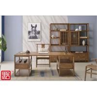 禺舍禅意新中式民宿家具:新款8001白蜡木办公桌