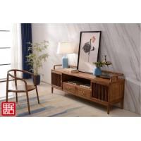 禺舍禅意新中式民宿家具:白蜡木电视柜