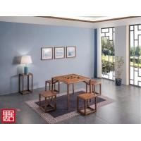 禺舍禅意新中式民宿家具:白蜡木八仙桌