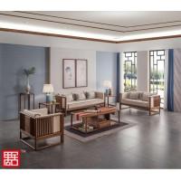 禺舍禅意新中式民宿家具:3005白蜡木沙发