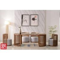 禺舍禅意新中式民宿家具:白蜡木网红茶台