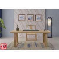 禺舍禅意新中式民宿家具:原木色白蜡木大板