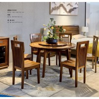 佐霖家具缅甸金丝柚木系列圆餐桌5008#、餐椅06#