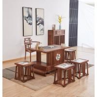 菲百年新中式禅意北美黑胡桃木CM301#茶桌、CM05#主椅、CM09#长条凳、CM10#方凳