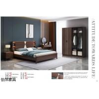 南康现代简约实木家具,江西浅咖色橡胶木套房厂家,怡萍家具品牌,佳百年家具