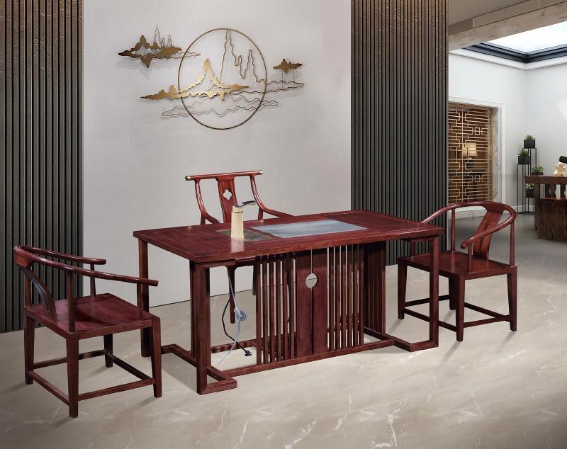 振玺家具赤金檀木时尚新中式茶桌