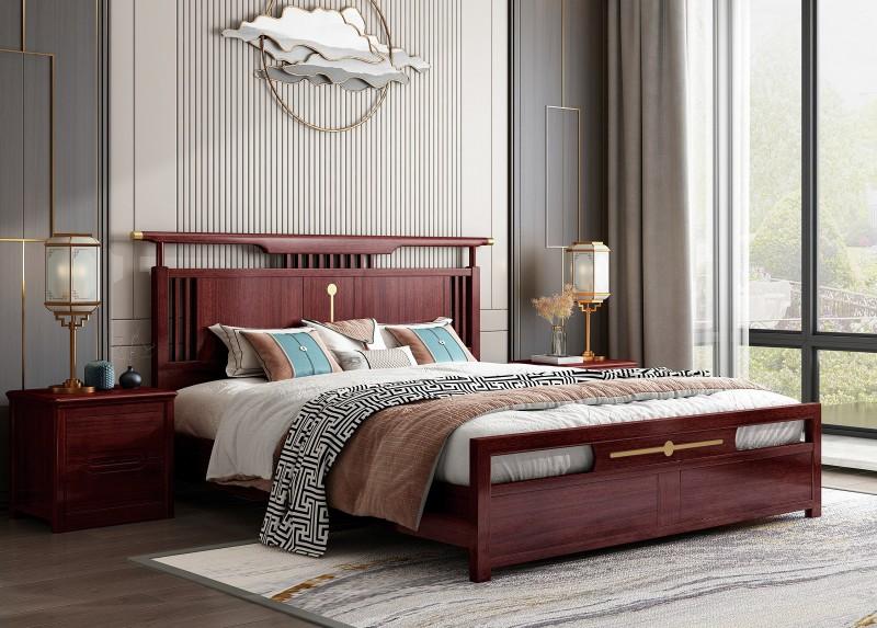 振玺家具赤金檀木时尚新中式床