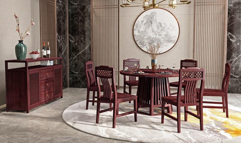 振玺家具赤金檀木时尚新中式餐桌
