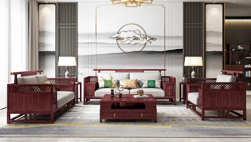 振玺家具赤金檀木时尚新中式沙发
