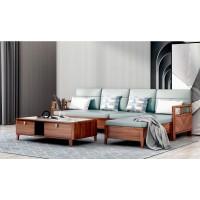 世华现代轻奢红檀木家具:9016#转角沙发、9013#长茶几
