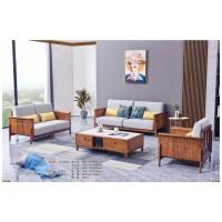 世华现代轻奢红檀木家具:9015#1+2+3沙发、9013#长茶几、9013#小圆几