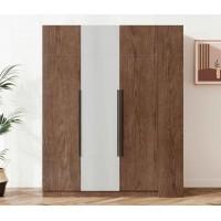 朗朝现代极简白蜡木家具:L2683#三门开门衣柜(胡桃色)、L2681#边柜