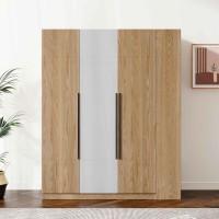 朗朝现代极简白蜡木家具:L2683#三门开门衣柜(原木色)、L2681#边柜