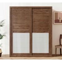 朗朝现代极简白蜡木家具:L2664#趟门衣柜(胡桃色)