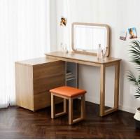 朗朝现代极简白蜡木家具:L2691#梳妆台(转角)、妆凳