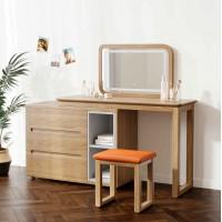 朗朝现代极简白蜡木家具:L2691#梳妆台(原木色)、妆凳