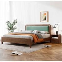 朗朝现代极简白蜡木家具:L2605#软包床(胡桃色)、L261#床头柜