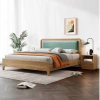 朗朝现代极简白蜡木家具:L2605#软包床(原木色)、L261#床头柜