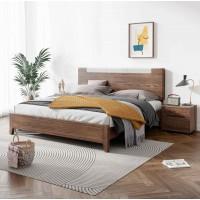 朗朝现代极简白蜡木家具:L2603#分色床(胡桃色)、L262#床头柜