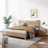 朗朝现代极简白蜡木家具:L2603#分色床(原木色)、L262#床头柜