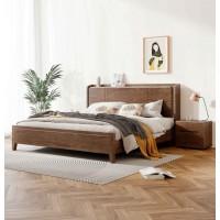 朗朝现代极简白蜡木家具:L2602#功能床(胡桃色)、L262#床头柜