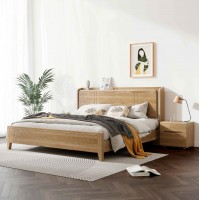 朗朝现代极简白蜡木家具:L2602#功能床(原木色)、L262#床头柜