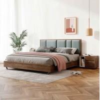 朗朝现代极简白蜡木家具:L2601#形象床(胡桃色)、L263#床头柜