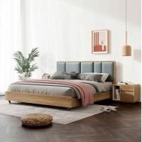 朗朝现代极简白蜡木家具:L2601#形象床(原木色)、L263#床头柜