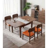朗朝现代极简白蜡木家具:L291#拉伸方台(胡桃色)、L292#餐椅(圆脚)、L290#条凳