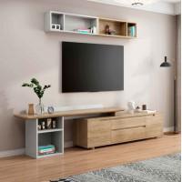 朗朝现代极简白蜡木家具:L2822#拉伸电视柜(原木色)、L2860#吊柜