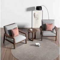 朗朝现代极简白蜡木家具:L2831#休闲椅(胡桃色)