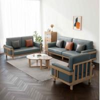 朗朝现代极简白蜡木家具:L2804#1+2+3沙发(原木色)、L282#大圆几、L282#小圆几