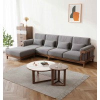 朗朝现代极简白蜡木家具:L2803#转角沙发(胡桃色)、L282#大圆几、L282#小圆几