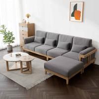 朗朝现代极简白蜡木家具:L2803#转角沙发(原木色)、L282#大圆几、L282#小圆几