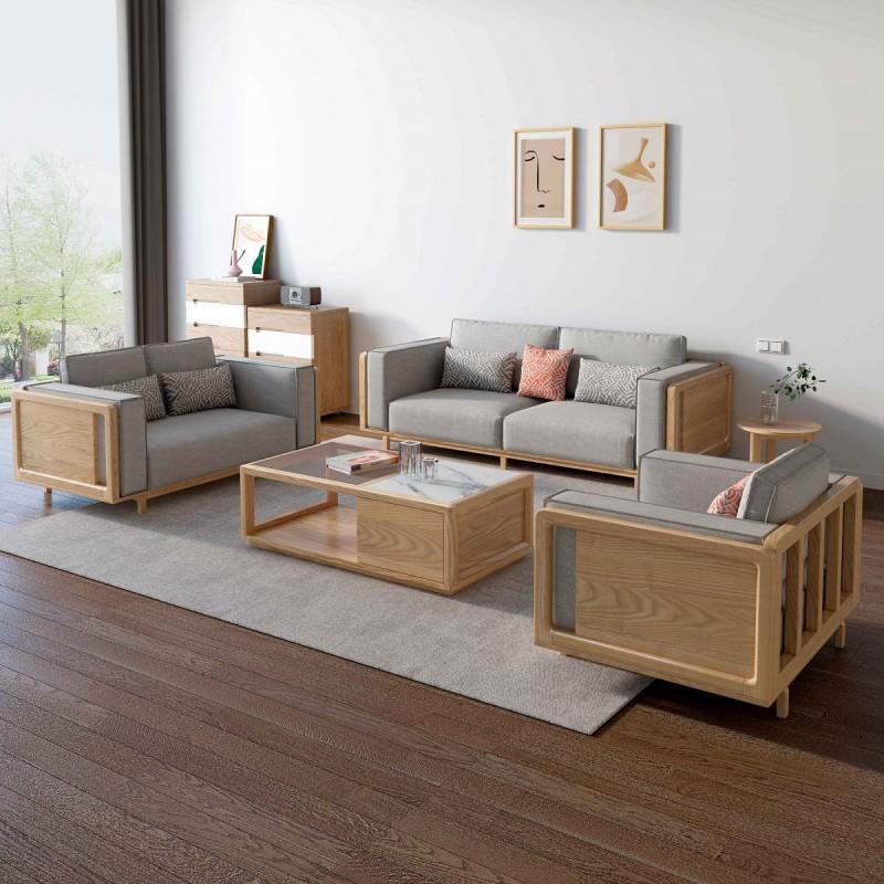 L2802#1+2+3沙发(原木色)、L281#长茶几