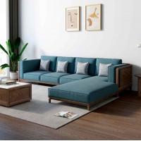 朗朝现代极简白蜡木家具:L2801#转角沙发(胡桃色)、L281#长茶几