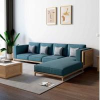 朗朝现代极简白蜡木家具:L2801#转角沙发(原木色)、L281#长茶几